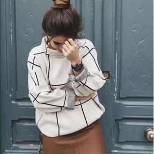 Chic Wish l Mock Turtleneck Grid Sweater Heavy